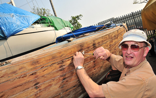 AHOY: Rob Owen with the UK North's Blind Sailing Association's boat. Picture by Globe's chief photographer David Gennard