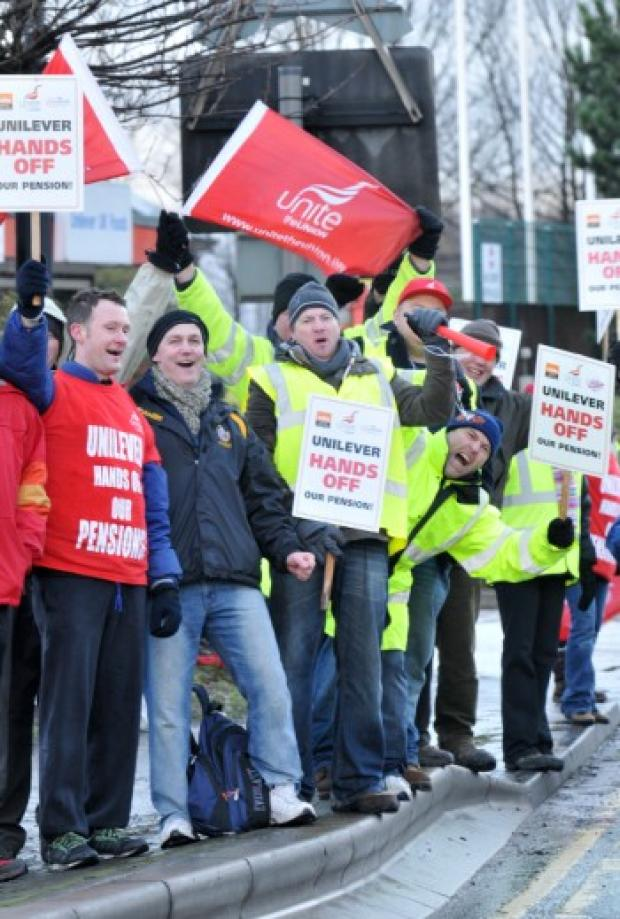 Unilever workers take strike action last December