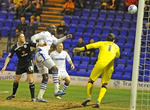 Wirral Globe: Enoch Showumni scores for Rovers. Picture by Paul Heaps