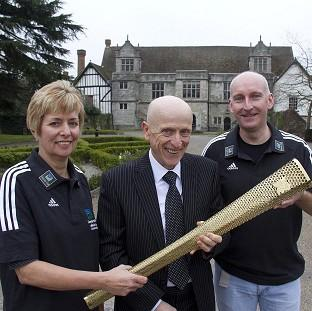Wirral Globe: Torch runners Julia Chilcott and Mel Moore with Maidstone Borough Council's John A Wilson