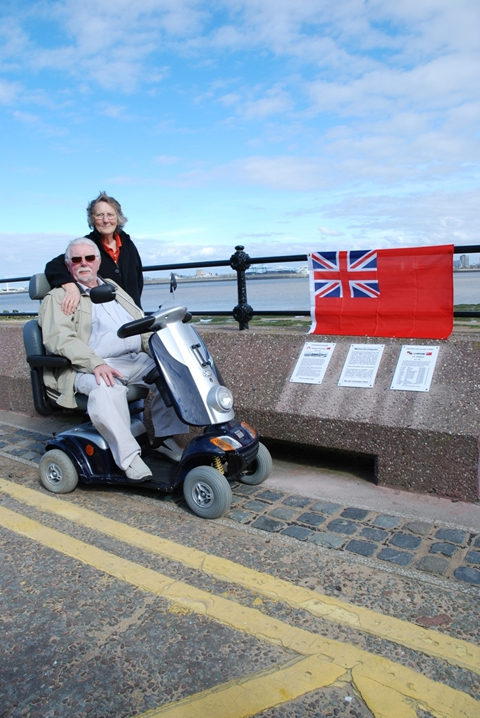 Carl and Rose Leckie with their plaques in Victoria Road, New Brighton