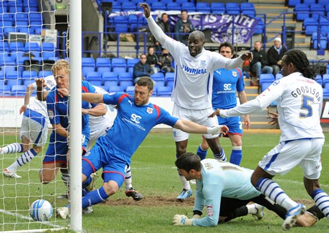 Jake Cassidy's goal clears the line to put Tranmere ahead against Stevenage on Friday. Pic: Paul Heaps