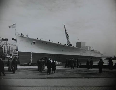 The battleship 'HMS Prince of Wales' during construction at Cammell Laird and Company Ltd shipyard.