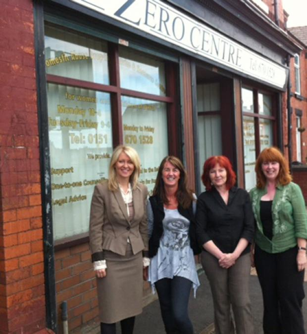 Esther McVey MP, support worker Patrice Watson, Zero Centre manager Morag Reid and counsellor Gerri Davenport.