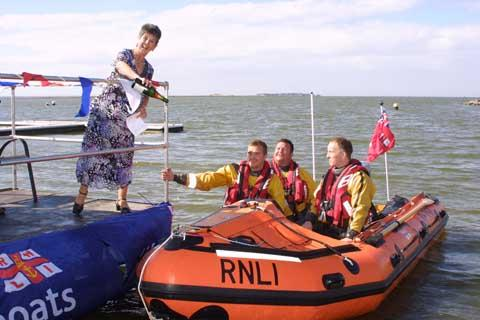 Sue Hennessy, former Principal of the RNLI College christening Seahorse. Picture: Richard Booth.