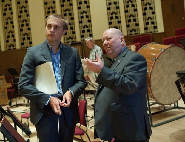 Vasily Petrenko and Mayor of Liverpool, Cllr Joe Anderson inside the Philharmonic Hall