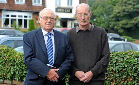 FLASHBACK:Cllr Mike Hornby and traders' association chairman John Smith near the site in September.