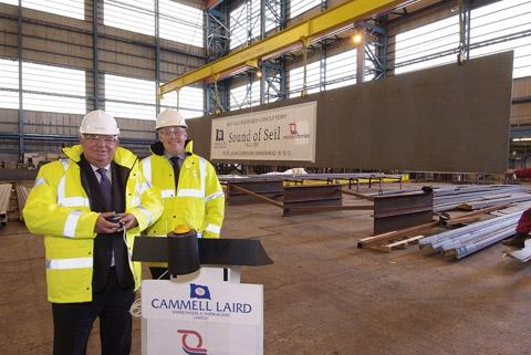 Western Ferries chairman Alistair Ross and Cammell Laird managing director Linton Roberts at this morning's ceremony