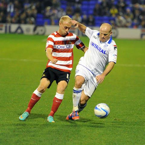 Andy Robinson on the ball for Rovers last night. Picture: Paul Heaps
