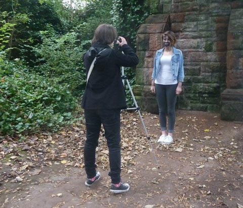 Sophie Price at work on the film