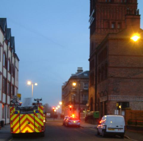 Firecrew outside Hamilton Square station in Birkenhead tonight