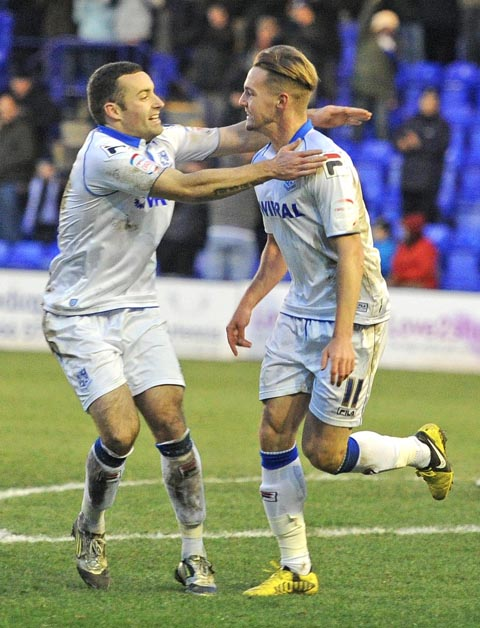 Adam McGurk and James Wallace celebrate Rovers' win. Picture: Paul Heaps
