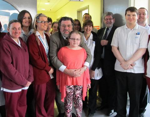 Ricky on a visit to The Clatterbridge Cancer Charity earlier this year.