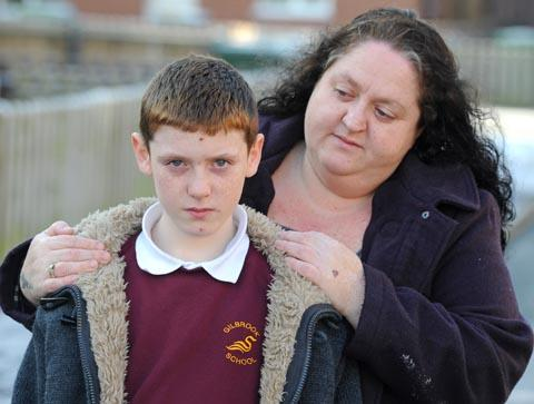 Mum Katy Wiggins with her 11-year-old son Lewis
