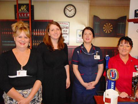 Wirral Globe: Tina Long, director of nursing and midwifery, Alison McGovern MP, ward sister Janet Sherlock and matron Margaret Davies.