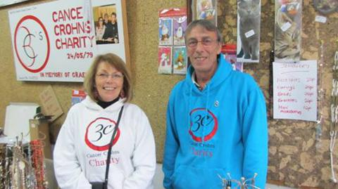 Rose and Keith Fairhurst at their Christmas Charity Shop.