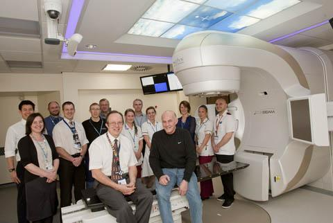 Staff from The Clatterbridge Cancer Centre with Tommy Brennan the first patient to use the new TrueBeam accelerator.