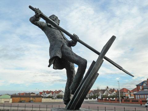 Sculpture outside Hoylake Lifeboat Station which forms part of the trail
