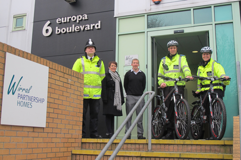 PCSOs Andy Smith and Sarah Taylor pictured with the new bikes along with Sgt Geraint Price, WPH Tenancy Enforcement Manager, Clare Moore and WPH tenancy enforcement officer, Paul Robinson.