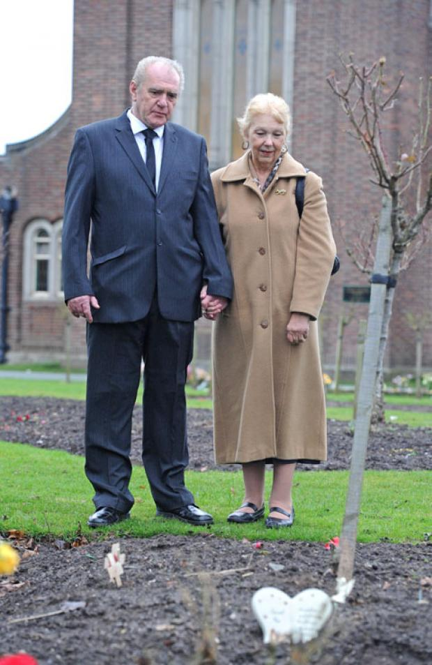 David Robson with fiancee Jan Speed at Landican Cemetery.