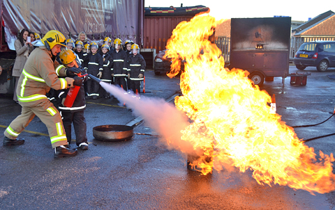 Pupils take part in the Firefighting Experience Day