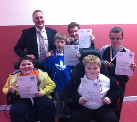 Headteacher Adrian Whiteley with Mosslands students