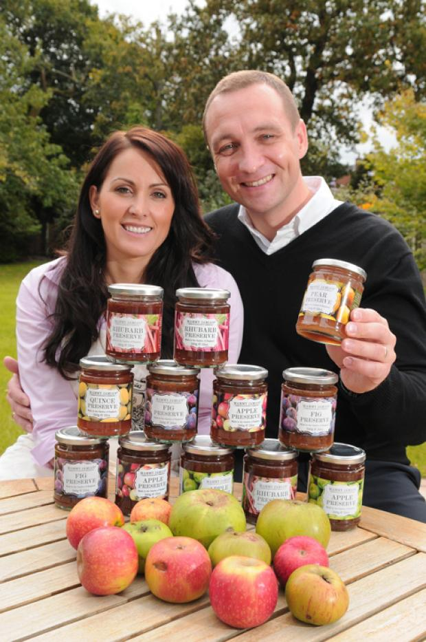Sajmira and Andrew Cairns with their range of jams