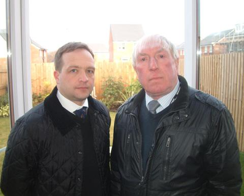 David Wroe and Cllr George Davies inside one of Keepmoat's new homes near Brassey Street
