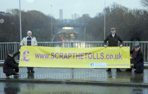 Left to right  - Activists Nick Lacey and Mark Croucher, Paul Nuttall MEP and Phil Griffiths, North West UKIP chairman