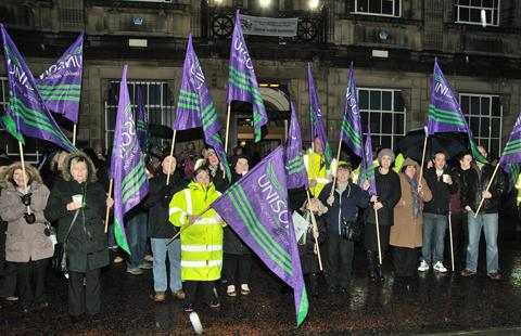 Protesters outside Wallasey Town Hall last night. Picture: Vince Clegg / Creative Photography