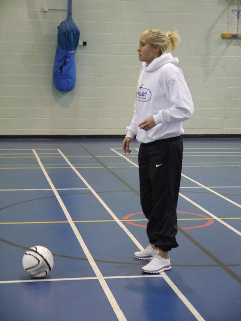 Steph Houghton during her visit to Weatherhead