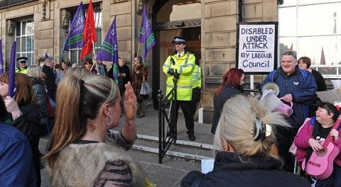 Wallasey Town Hall: Protestors gathered to object to cuts in services last night