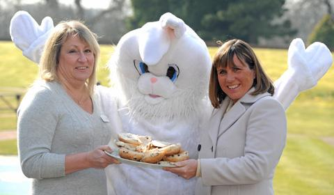 Lesa Chappell from Claire House with the Easter Bunny and Lindsay Occleston from Roberts Bakery