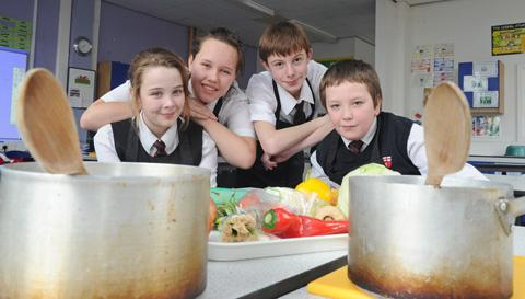 Pupils Charlie Piercy, Abigail Jebb, Matthew Hadfield and Tyler Pimblett