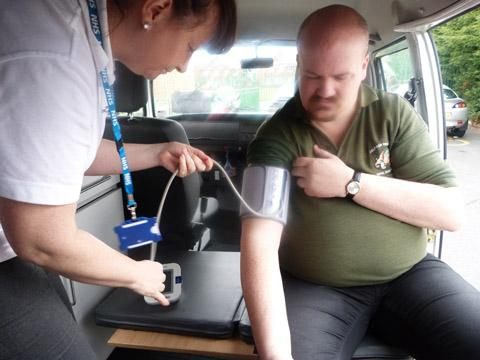 Blood pressure check during this morning's campervan visit.