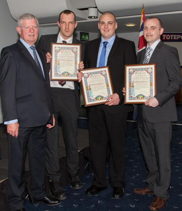 John Royden, James Stewart and Chris Kewley with Brian Airey, chairman of Liverpool Shipwreck and Humane Society. Picture: Tony Thomas
