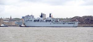 HMS Bulwalk arrives on the River Mersey for this weekend's Battle Of Atlantic 70th anniversary celebrations.