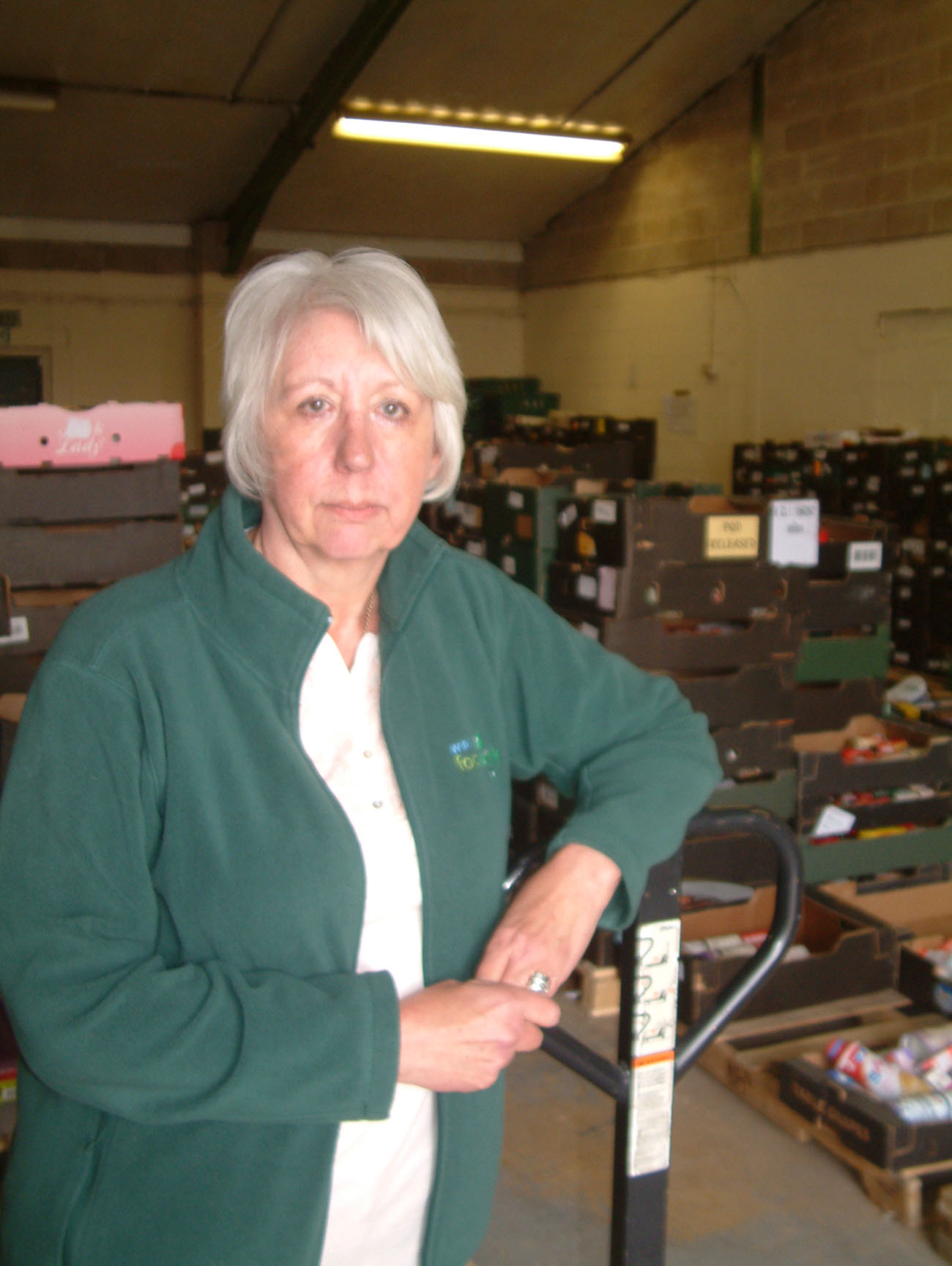 Jayne Branch-Murray at the Wirral Foodbank warehouse.