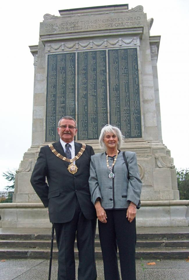 Mayor and mayoress, Cllr Dave and Sue Mitchell at the renovated Cenotaph