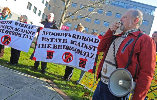 FLASHBACK: Campaigners demonstrate against bedroom tax in Birkenhead in November.