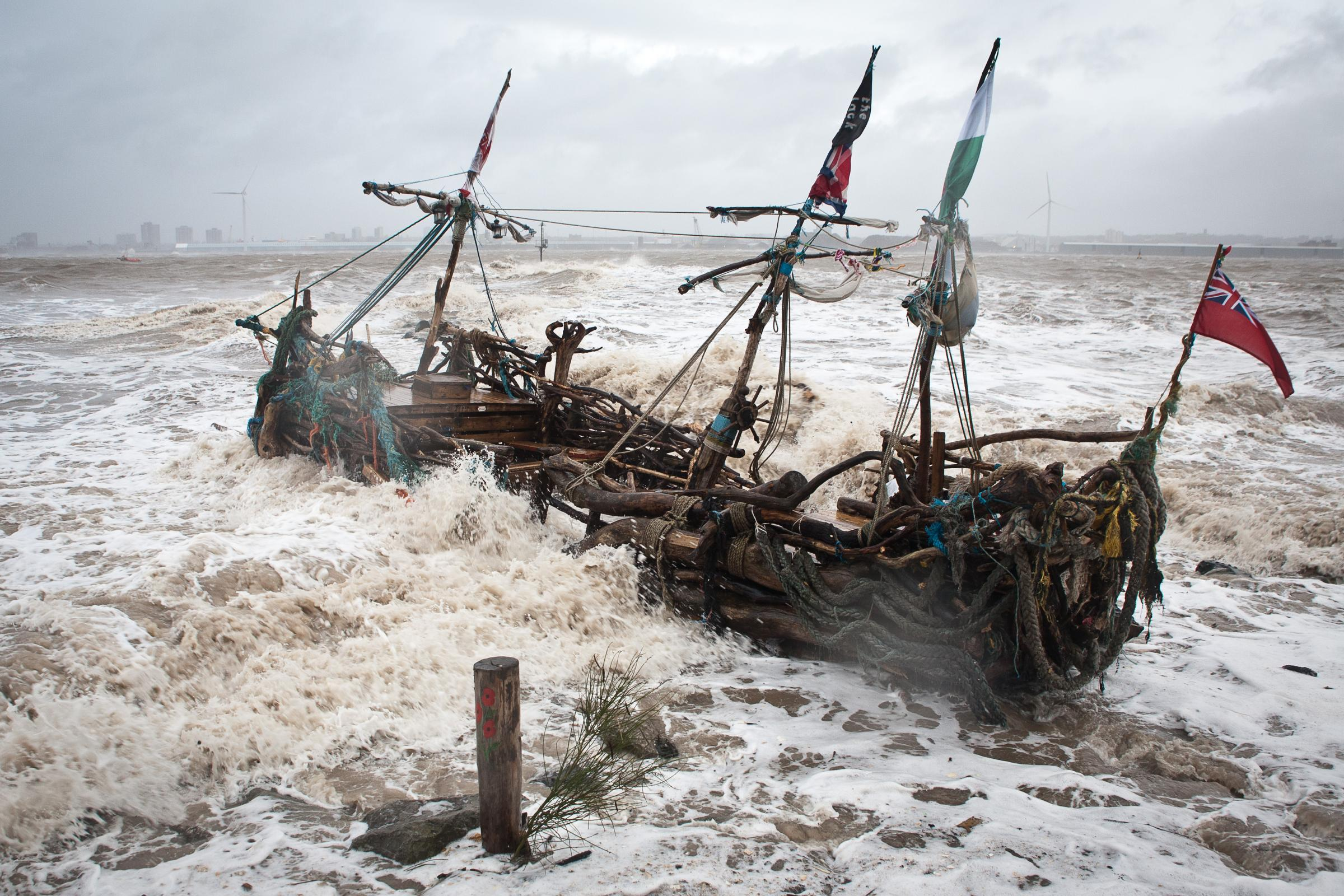 Wirral Globe: The Black Pearl was washed away during today's extreme weather conditions.