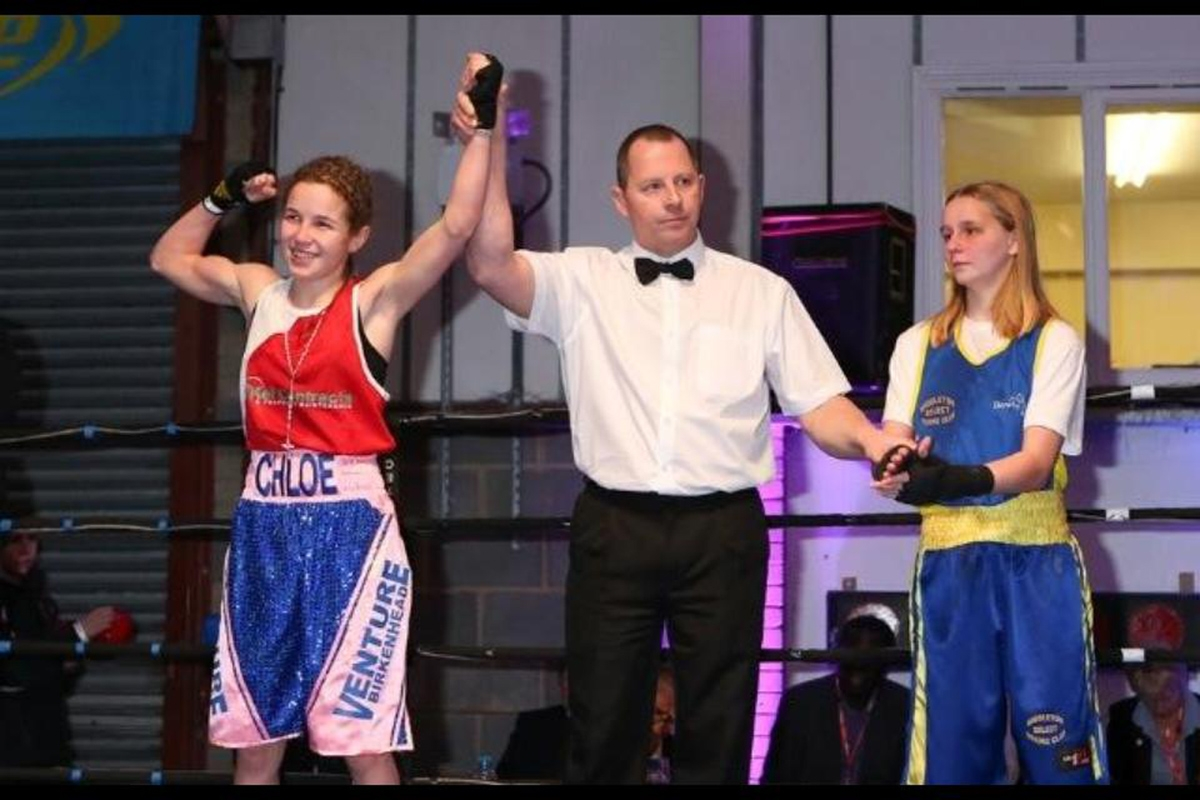 CHAMPION: Chloe Watson (left) beats Freya Jones to become the ABA national champion in the 40-42kg division