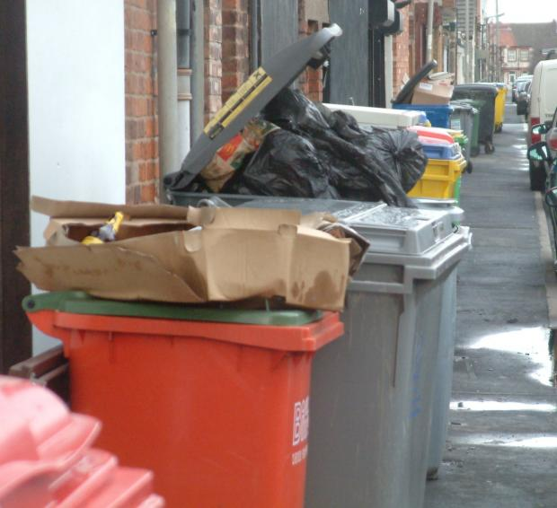 Wirral Globe: The bins in Charles Road today