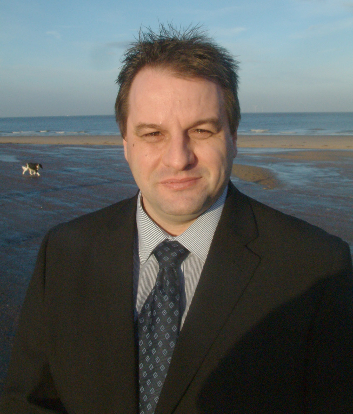Wirral Globe: Simon Clitheroe at Hoverlink's proposed launch site in New Brighton