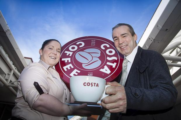 Costa Manager Sam Heustice with Derek Millar, commercial director for Pyramids Shopping Centre
