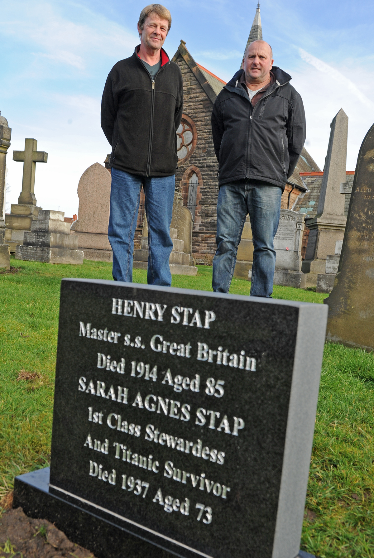 Stonemason Allan Roberts, right, with Friends of Rake Lane Cemetery chairman Mark Joynson