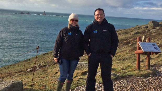 Big Heritage founder Dean Paton, with current Archaeology PhD student and Big Heritage colleague Joanne Kirton, at Land's End.