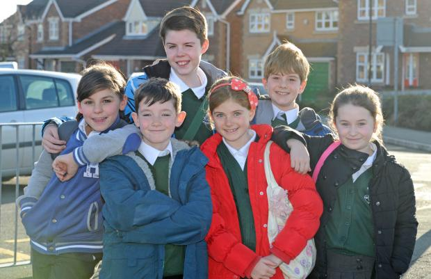 Wirral Globe: Children from Greenleas School in Wallasey. Pictured from left is, Chloe Sopp, Sonny Ward, Will Joy, Mia Foster-Hyde, Alex Morgan, and Maise Powell.