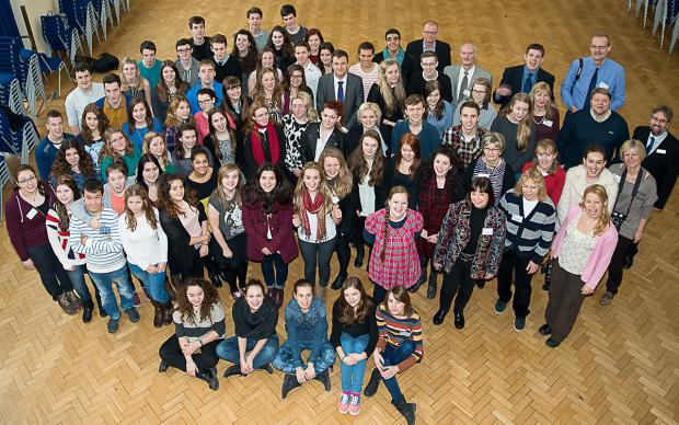 Wirral Globe: Teachers and students from schools in Poland, Finland, Hungary and Germany with West Kirby Grammar School during the visit to Wirral.