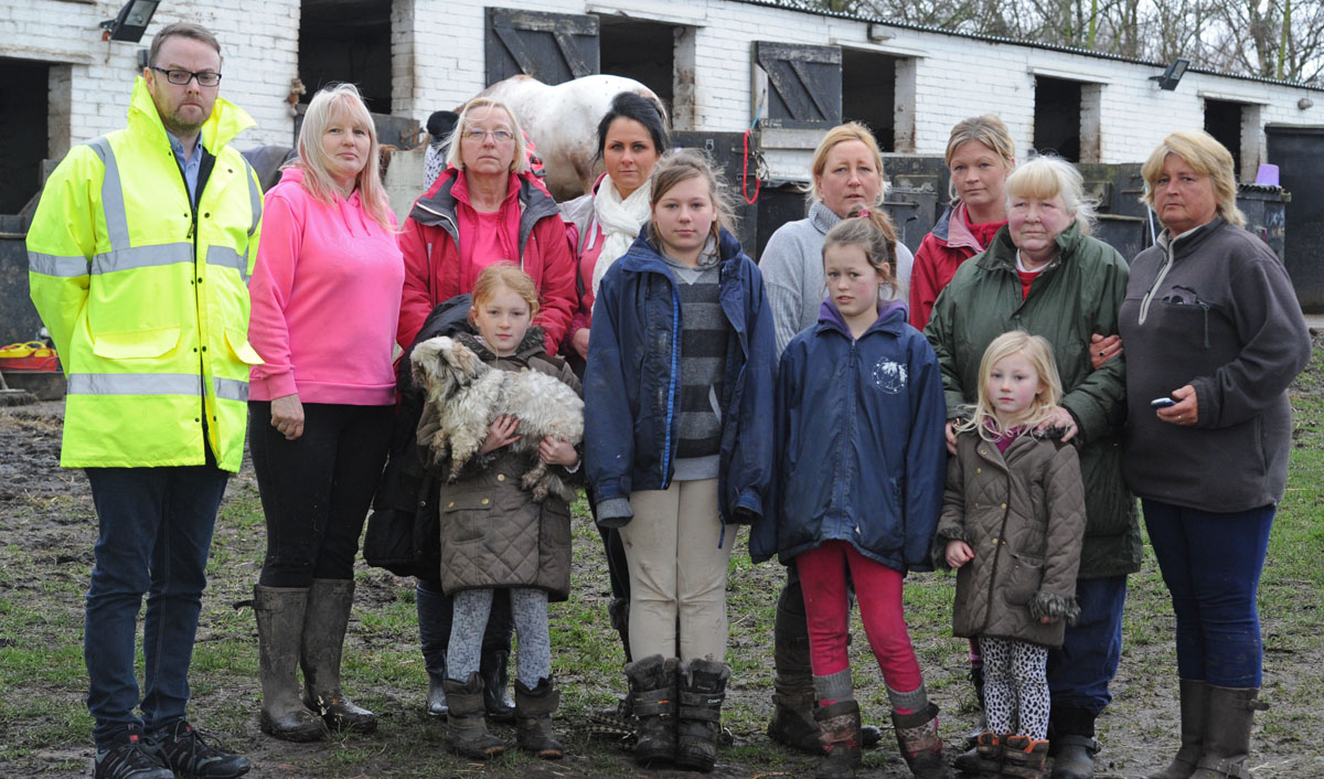 Cllr Ian Lewis with protestors at Fernbank Farm. Picture: Paul Heaps
